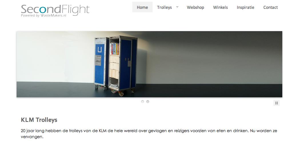 De SecondFlight webshop is gespecialiseerd in het hergebruik van vliegtuig-trolleys.