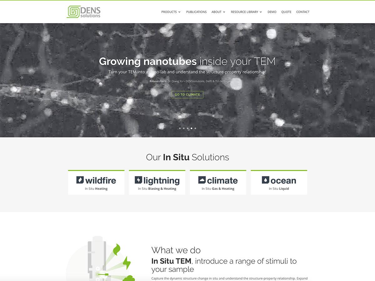 De homepage van DENSsolutions bevat een mooie videoslider