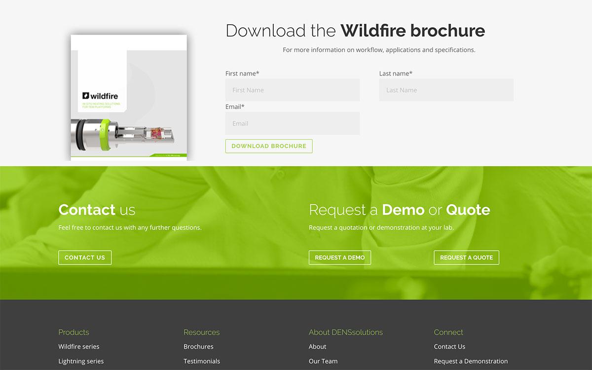 De footer van de homepage en productpagina's bevat een duidelijke call-to-action.